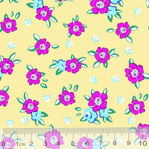 Tecido Tricoline Alg. Floral - Lucy - Fundo Bege