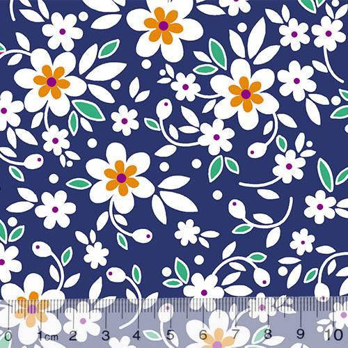 Tricoline Alg. Floral - Sunny - Fundo Azul Marinho