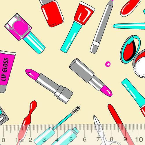 Tricoline Alg. Maquiagem e Manicure - Fundo Bege