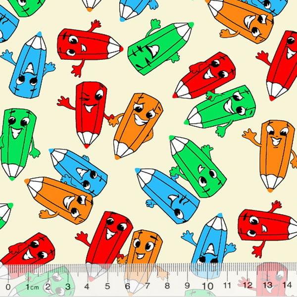 Tecido Tricoline Alg. Pequenos Lápis Coloridos - Fundo Bege