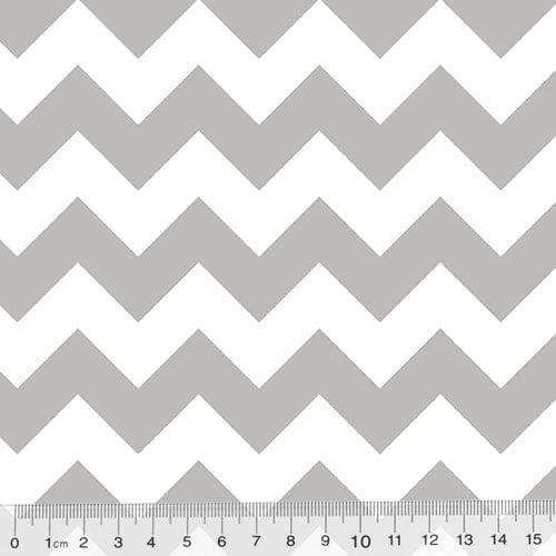 Tecido Tricoline Chevron Design - Cinza - 100% Algodão - Largura 1,50m