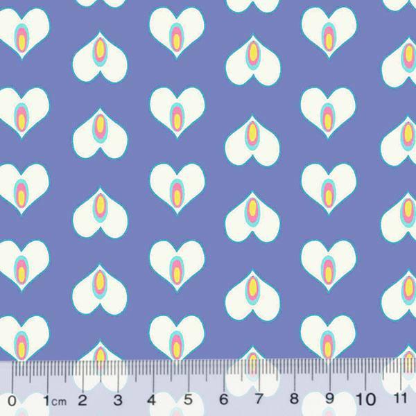 Tecido Tricoline Coração Formas - Azul