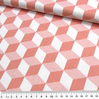 Tecido Tricoline Cubos Geométricos - Salmão