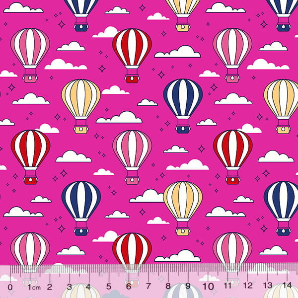Tecido Tricoline Des. Balões No Céu - Rosa Pink