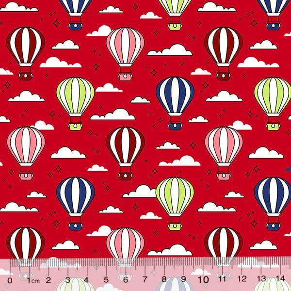 Tricoline Des. Balões No Céu - Vermelho