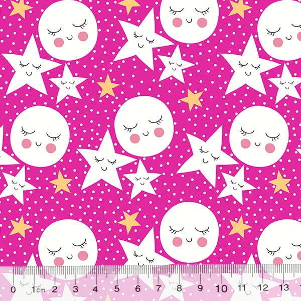 Tecido Tricoline Des. Estrelas e Luas Contentes -  Rosa Pink