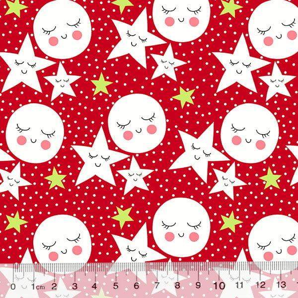 Tricoline Des. Estrelas e Luas Contentes - Vermelho