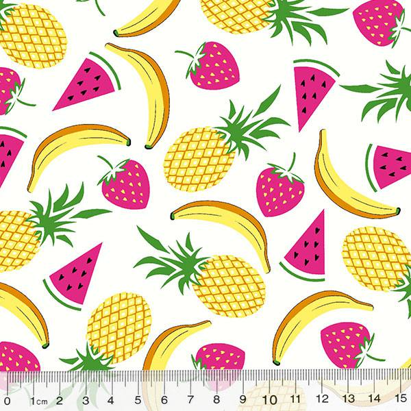 Tecido Tricoline Des. Frutas Mix - Branco
