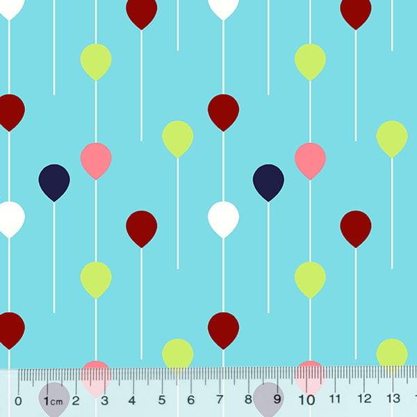 Tecido Tricoline Des. Pequenos Balões - Azul Claro
