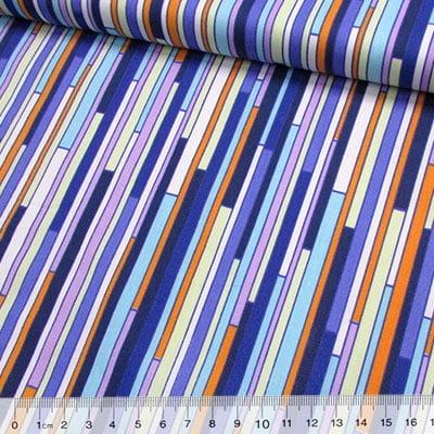 Tecido Tricoline Fitas Coloridas - Azul