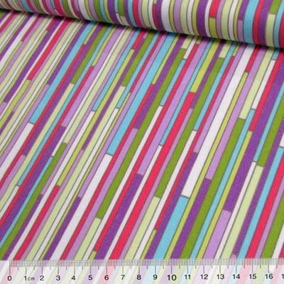 Tecido Tricoline Fitas Coloridas - Lilás