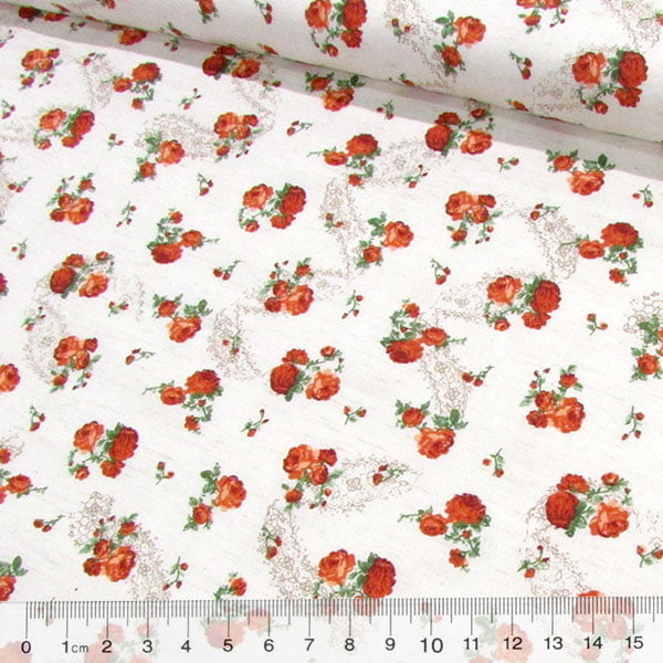 Tecido Tricoline Floral Col. Libela - Flores Menores - Laranja