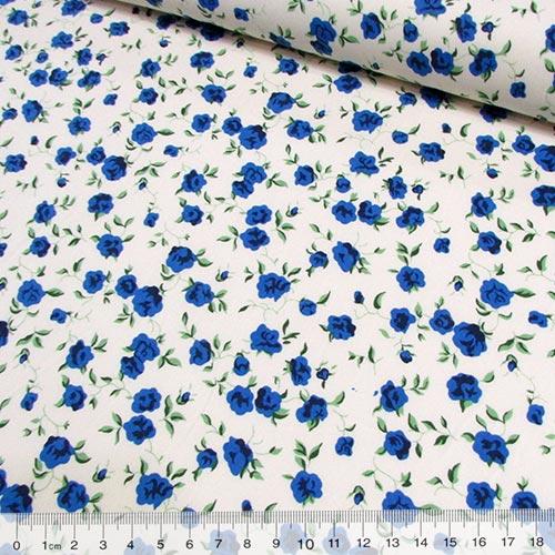 Tricoline Floral Floraline Azul - Fundo Bege