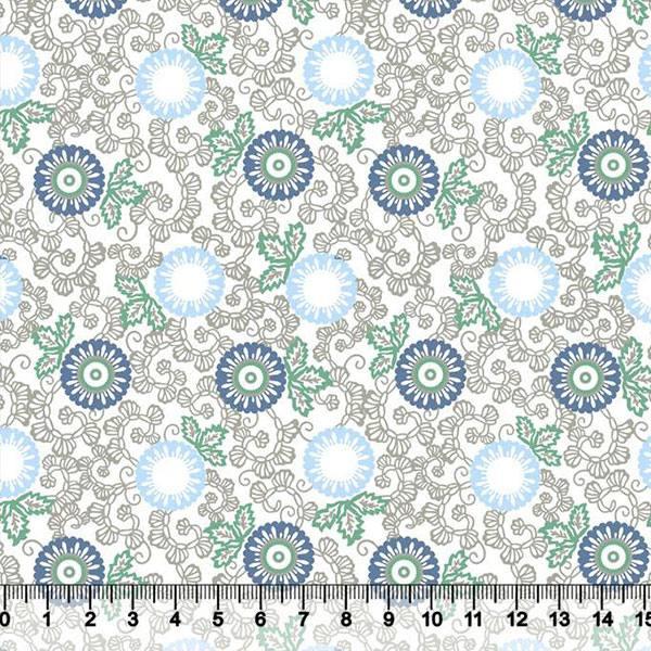 Tricoline Floral Indiana - Fundo Branco - Azul