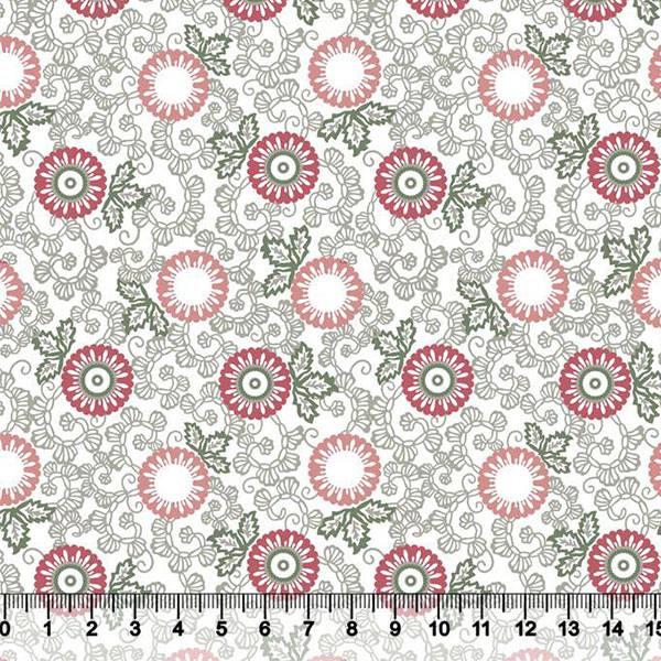 Tricoline Floral Indiana - Fundo Branco - Rosê