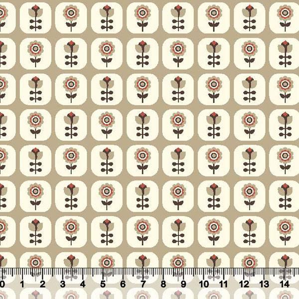 Tricoline Floral Janelinha - Fundo Bege Escuro
