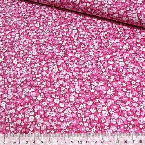 Tecido Tricoline Floral Mini Ink - Rosa