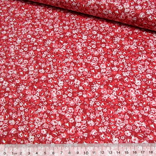 Tecido Tricoline Floral Mini Ink - Vermelho