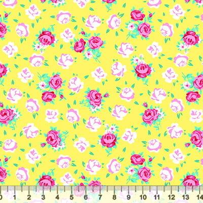 Tricoline Floral - Mini Jardinagem - Amarelo
