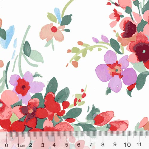 Tricoline Floral Primavera Monza - Vermelho