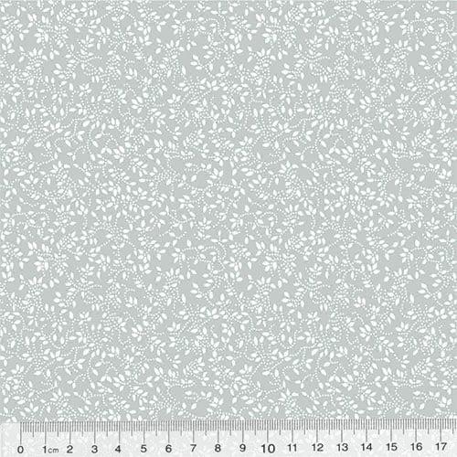 Tecido Tricoline Floral - Raminhos Fundo Cinza c/ Branco (Largura: 1,50 m)