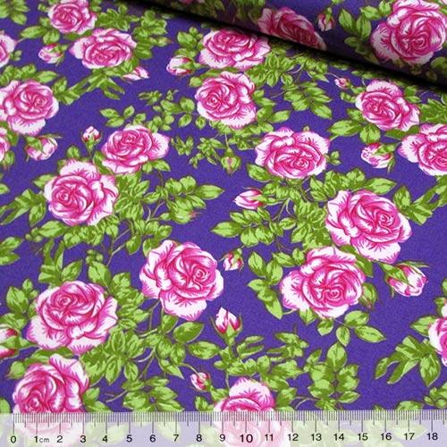 Tecido Tricoline Floral Talita - Roxo