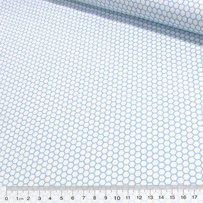 Tecido Tricoline Formas Hexágono - Azul