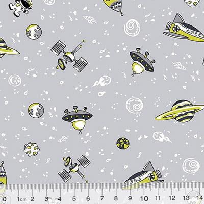 Tecido Tricoline Kids Espaço Sideral - Cinza