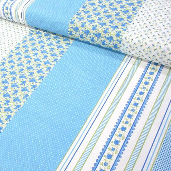Tecido Tricoline Mista Barras Patch Nuance - Azul - 90% Algodão 10% Poliéster - Largura 1,50m