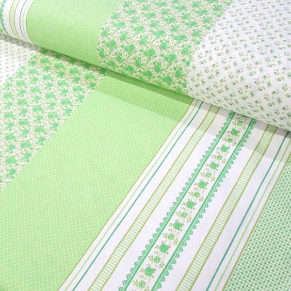 Tecido Tricoline Mista Barras Patch Nuance - Verde - 90% Algodão 10% Poliéster - Largura 1,50m