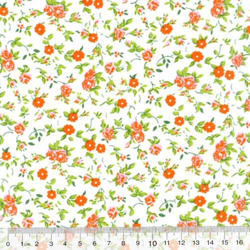 Tricoline Mista Floral Duke - Laranja