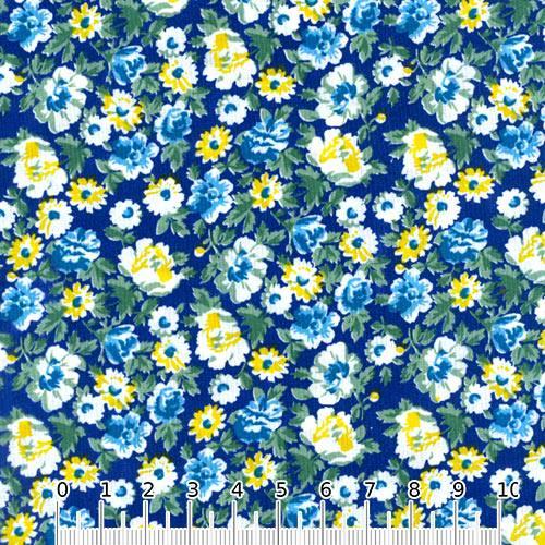 Tecido Tricoline Mista Floral Graceful - Azul