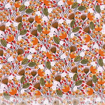 Tricoline Mista Floral Sochi - Laranja