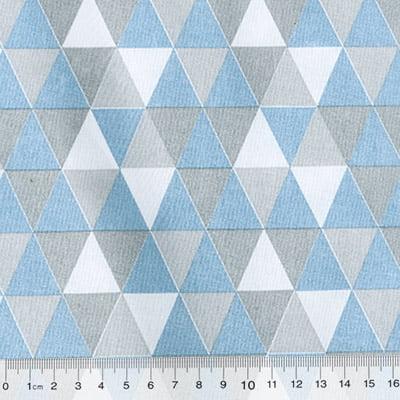 Tricoline Mista Geométricos - Azul Claro
