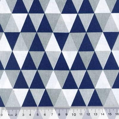 Tecido Tricoline Mista Geométricos - Azul Marinho