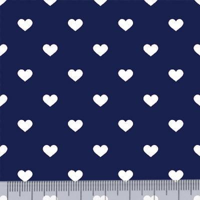 Tricoline Mista Pop - Corações Fundo Azul Marinho