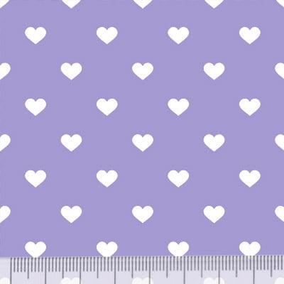 Tricoline Mista Pop - Corações Fundo Lilás