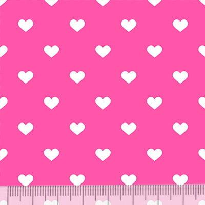Tricoline Mista Pop - Corações Fundo Rosa Pink