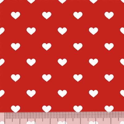 Tecido Tricoline Mista Pop Textoleen Corações Fundo Vermelho - 50% Algodão 50% Poliéster - Largura 1,38m