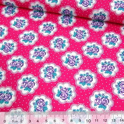 Tricoline Mista Pop - Floral Lindsay Poá - Rosa Pink