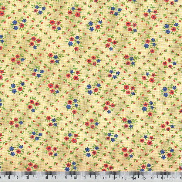 Tecido Tricoline Mista Pop Textoleen Floral Mini Buquê - Amarelo - 50% Algodão 50% Poliéster - Largura 1,38m