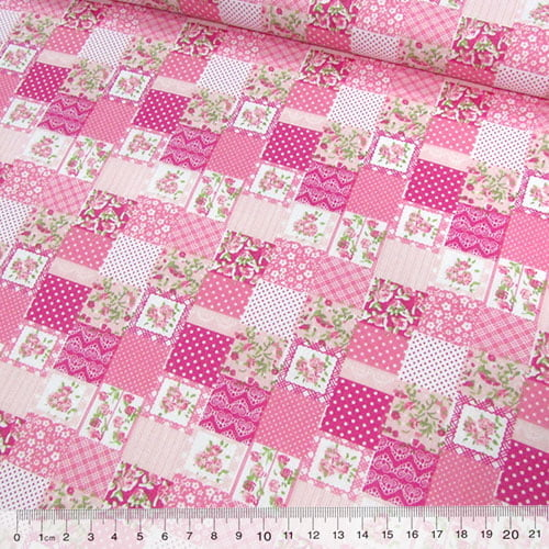 Tecido Tricoline Mista Pop Textoleen Mini Patchwork Floral Encanto - Rosa - 50% Algodão 50% Poliéster - Largura 1,38m