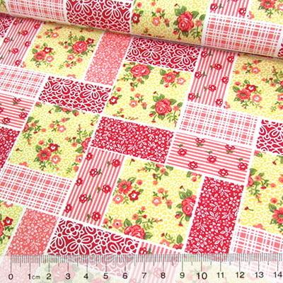Tricoline Mista Pop - Patchwork Floral Clássico - Vermelho