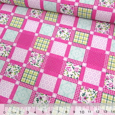 Tricoline Mista Pop - Patchwork Window - Rosa Pink