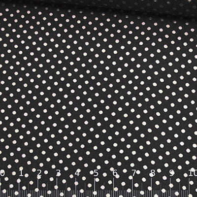 Tecido Tricoline Mista Pop Textoleen Poá M Fundo Preto - 50% Algodão 50% Poliéster - Largura 1,38m