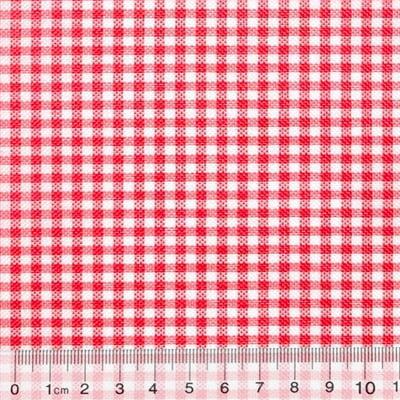 Tecido Tricoline Mista Pop Textoleen Xadrez Vermelho - 50% Algodão 50% Poliéster - Largura 1,38m