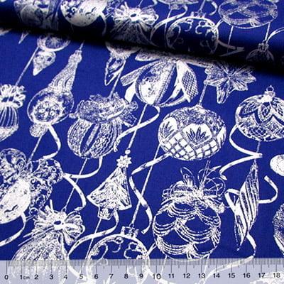 Tecido Tricoline Natal - Bolas Enfeites - Fundo Azul c/ Prata