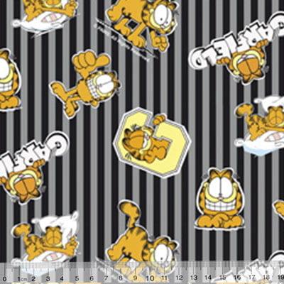 Tecido Tricoline Personagens F. Maluhy - Garfield Listras Cinza - 100% Algodão - Largura 1,50m