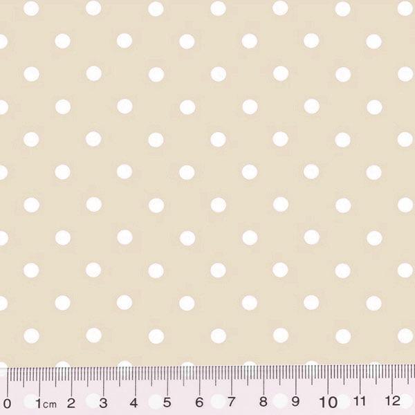 Tecido Tricoline Poá Dots - Fundo Bege c/ Branco