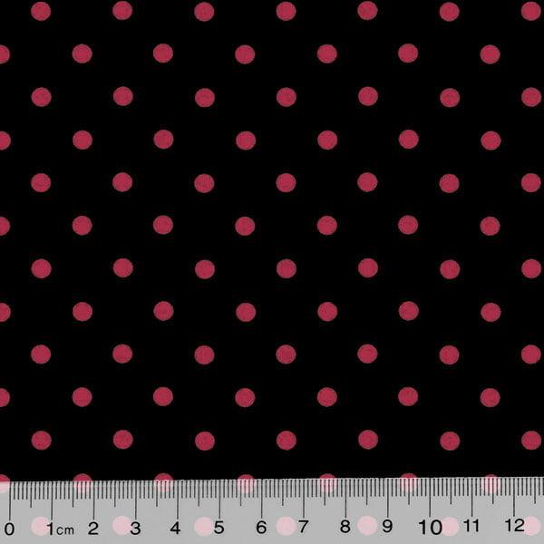 Tecido Tricoline Poá Dots - Fundo Preto c/ Vermelho - 100% Algodão - Largura 1,50m